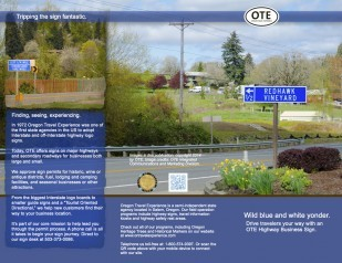 Image of Oregon Travel Experience Highway Business Sign Brochure Cover