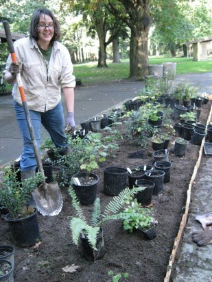 Clackamas Community College student, Sarah Hamilton, completed a landscaping plan for the southbound rest area using Oregon natives.