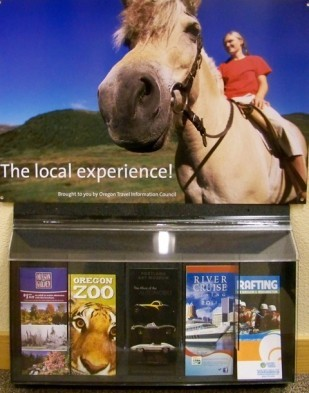 Brochure display racks help motorists connect to local attractions and services.