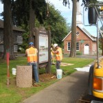 OTE and ODOT sign crews install new Dayton  marker
