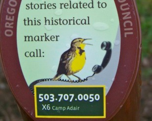 If you see this Audio Tour sign, call the phone number and you can get more information about that Historical Marker.