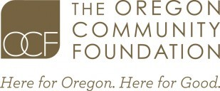 "Oregon Community Foundation logo with tag line, ""Here for Oregon, Here for Good."""