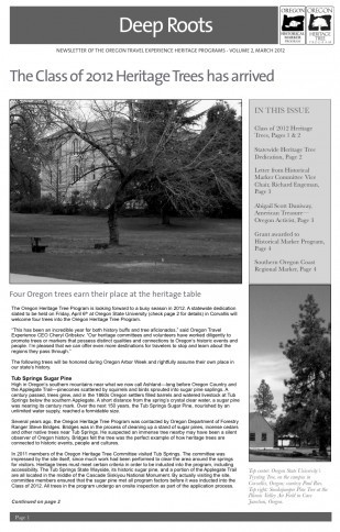 "Image of the Oregon Travel Experience Heritage Newsletter ""Deep Roots"""