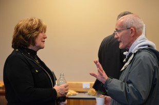 Image of OTE's CEO Cheryl Gribskov at the Town Hall meeting in Tillamook Oregon.