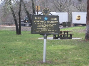 Image of OTE rest area with new Blue Star Memorial Highway Marker