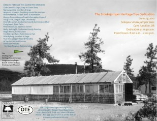 Image of Oregon Travel Experience Heritage Tree dedication program for smokejumper pine tree.