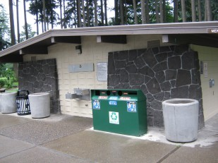 Image of Oregon Travel Experience rest area receiving coats of recycled paint