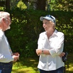 David Bridgham, from Friends of Shore Acres and Charlotte Lehan chat.