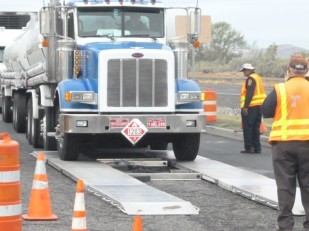 Big rig is checked at OTE's Boardman rest area.