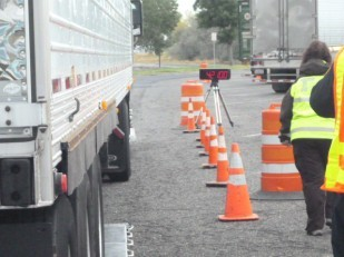 Temporary truck scales at Boardman rest area.