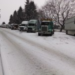 Trucks stopped when I-5 closed due to multiple vehicle accidents.