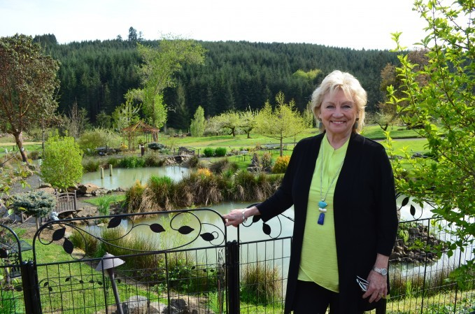 Danuta Pfeiffer in front of the cascading water gardens
