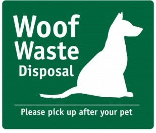 Image of Woof Waste Station Sign in OTE rest areas