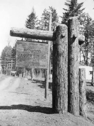 Original 1936 Cave Junction Ranger Station sign.