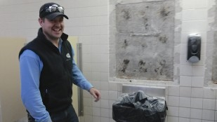 Kory Morris keeps a smile even during the cleanup
