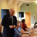 Tillamook Commissioner Mark Labhart welcomes meeting participants