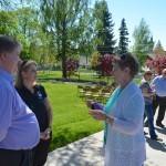Virginia Johnson talks with Preston Polasek and OTE's Nancy DeSouza before the ceremony.