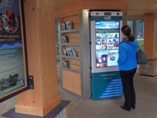 The new digital kiosk at northbound French Prairie