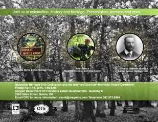 Image of invitation to Oregon Travel Experience 2015 Statewide Heritage Tree Dedication and Maynard Drawson Award ceremony