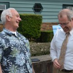 OTE retiree Jim Renner (l) shares a guffaw with Heritage Tree Committee member Paul Ries (r).