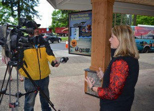 OTE Executive Director Nancy DeSouza, answers questions about the pilot project between Clackamas Tourism and OTE to KGW reporter.