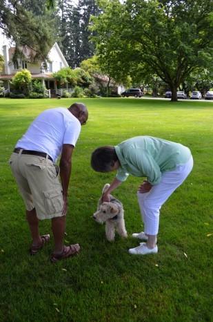 Ed Washington, Charlotte Lehan, and William the Terrier