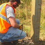 Step 17) Drill holes in the post to allow greater flexibility  in case the post is hit.