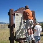 Volunteers work on the Balloon Bomb Marker in Bly.