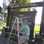 Another shot of the restoration work on the Fremont Memorial Marker.