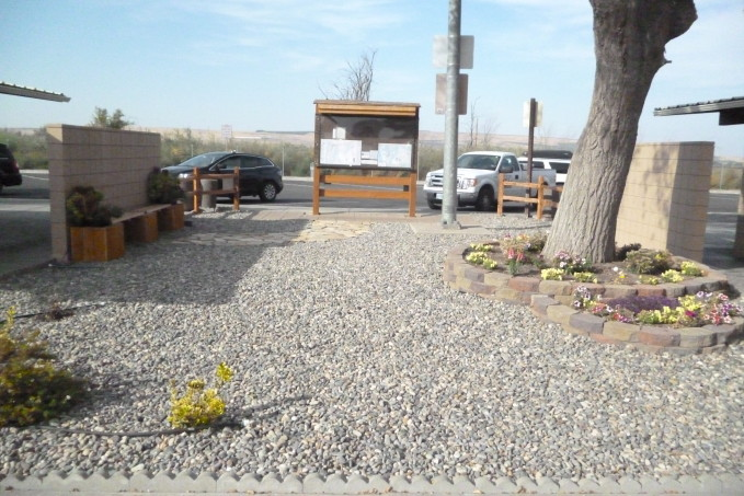 Image of Oregon Travel Experience Boardman Xeriscape landscape project after water-saving measures installed.