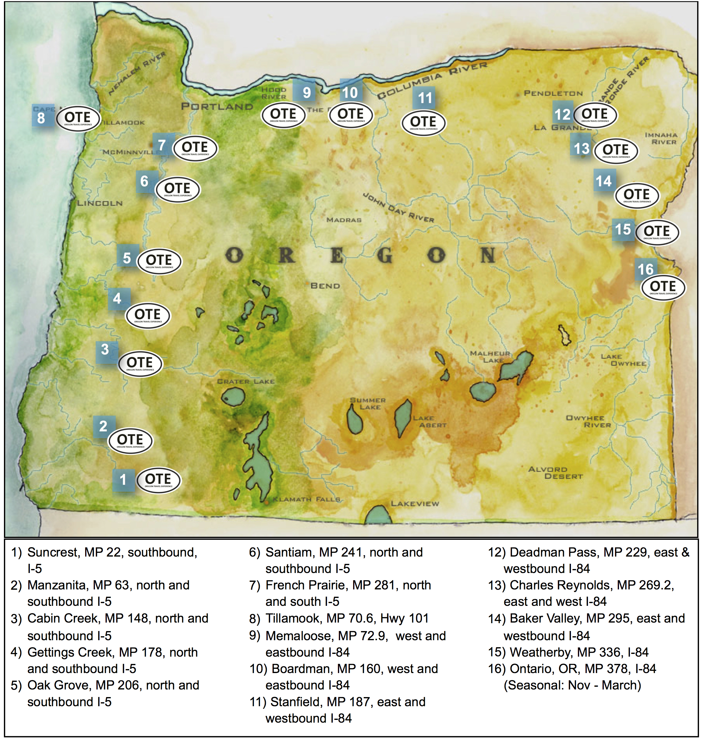Free Coffee Program Oregon Travel Experience - Map of us highway rest stops