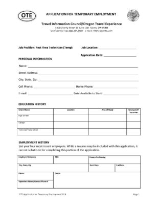 application form oregon travel experience